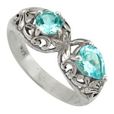 925 sterling silver 2.51cts natural blue topaz pear ring jewelry size 9 r40895