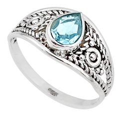 925 silver 1.57cts natural blue topaz pear graduation handmade ring size 9 t9519