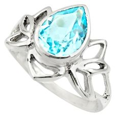 925 sterling silver 2.94cts natural blue topaz pear solitaire ring size 6 r25888