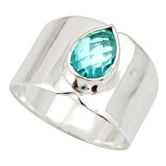 925 sterling silver 2.34cts natural blue topaz pear solitaire ring size 7 r27124