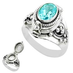 925 sterling silver 2.06cts natural blue topaz poison box ring size 7 t52817