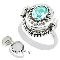 925 sterling silver 1.87cts natural blue topaz poison box ring size 8.5 t52820