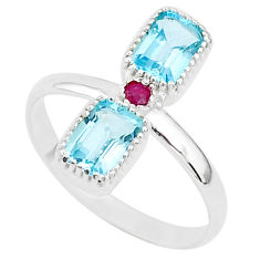 925 sterling silver 3.13cts natural blue topaz red ruby ring size 10 t5569