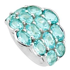 925 sterling silver 14.12cts natural blue topaz ring jewelry size 5.5 d46384