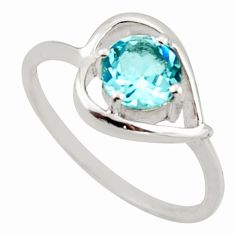 925 sterling silver 1.13cts natural blue topaz ring jewelry size 6.5 d46404