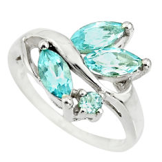 925 sterling silver 6.83cts natural blue topaz ring jewelry size 5.5 r25488