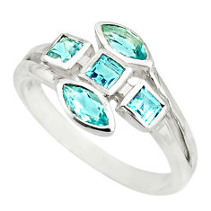 925 sterling silver 4.06cts natural blue topaz ring jewelry size 6.5 r25514