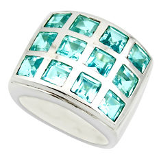 925 sterling silver 6.13cts natural blue topaz ring jewelry size 6.5 r25734