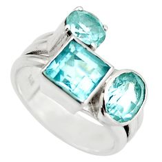925 sterling silver 6.80cts natural blue topaz ring jewelry size 6 d46388