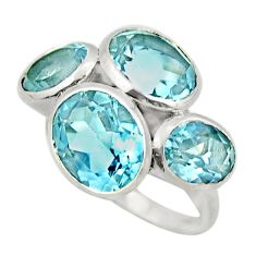 925 sterling silver 11.71cts natural blue topaz ring jewelry size 8 r25771