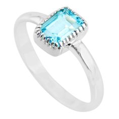 925 sterling silver 1.58cts natural blue topaz ring jewelry size 8 t7460