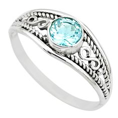Silver 0.66cts natural blue topaz round graduation handmade ring size 6 t9753