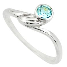 925 sterling silver 0.66cts natural blue topaz solitaire ring size 5.5 r25572