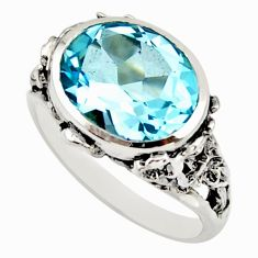 925 sterling silver 6.89cts natural blue topaz solitaire ring size 7.5 r25740