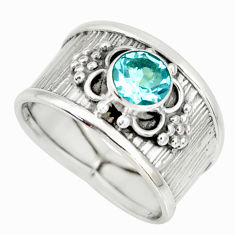 925 sterling silver 1.43cts natural blue topaz solitaire ring size 7.5 r34644