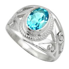 925 sterling silver 2.26cts natural blue topaz solitaire ring size 7.5 r40914