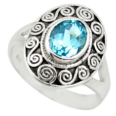 925 sterling silver 2.01cts natural blue topaz solitaire ring size 7.5 r40933