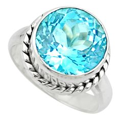925 sterling silver 6.83cts natural blue topaz solitaire ring size 5.5 r49791