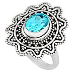 925 sterling silver 2.19cts natural blue topaz solitaire ring size 7.5 r54343