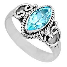 925 sterling silver 2.32cts natural blue topaz solitaire ring size 8.5 r54444