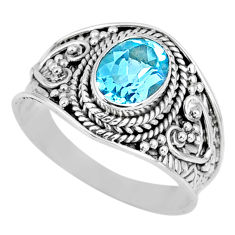 925 sterling silver 2.17cts natural blue topaz solitaire ring size 8.5 r58052