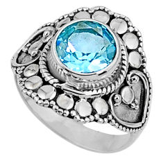925 sterling silver 3.02cts natural blue topaz solitaire ring size 6.5 r61179