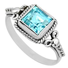 925 sterling silver 2.28cts natural blue topaz solitaire ring size 8.5 r64891