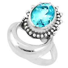 925 sterling silver 4.19cts natural blue topaz solitaire ring size 6.5 r67284