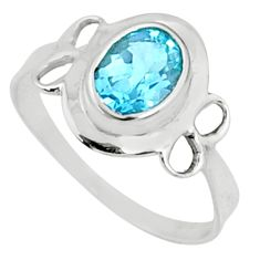 925 sterling silver 2.42cts natural blue topaz solitaire ring size 8.5 r68568