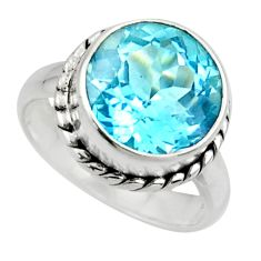 925 sterling silver 6.58cts natural blue topaz solitaire ring size 6 r49800