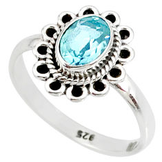 925 sterling silver 1.45cts natural blue topaz solitaire ring size 6 r85520
