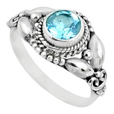 925 sterling silver 1.30cts natural blue topaz solitaire ring size 7 r64849