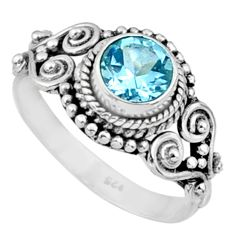 925 sterling silver 1.21cts natural blue topaz solitaire ring size 7 r64944