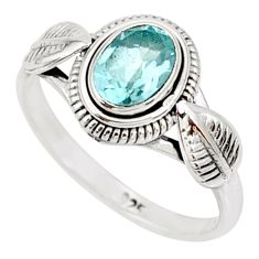 925 sterling silver 1.51cts natural blue topaz solitaire ring size 7 r85512
