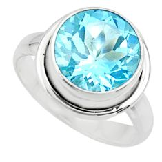 925 sterling silver 7.07cts natural blue topaz solitaire ring size 8 r49795