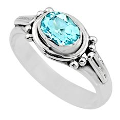 925 sterling silver 1.57cts natural blue topaz solitaire ring size 8 r54404