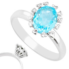925 sterling silver 2.12cts natural blue topaz solitaire ring size 8 r82784