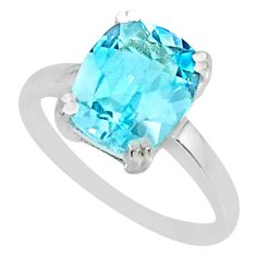 925 sterling silver 4.43cts natural blue topaz solitaire ring size 8 r83949