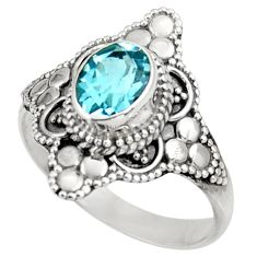 925 sterling silver 2.01cts natural blue topaz solitaire ring size 9 d39024