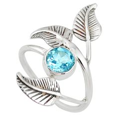 925 sterling silver 2.41cts natural blue topaz solitaire ring size 9 r67404