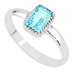 925 sterling silver 1.42cts natural blue topaz solitaire ring size 9 t7560