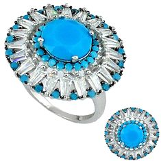 925 sterling silver natural blue turquoise topaz ring jewelry size 6 c15862