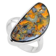 925 sterling silver 13.70cts natural boulder opal solitaire ring size 7 t24208
