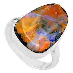 925 sterling silver 11.07cts natural boulder opal solitaire ring size 7 t24216