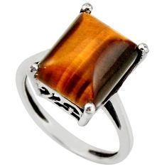 925 sterling silver 5.06cts natural brown tiger's eye ring jewelry size 6 d46380