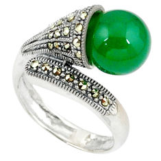 925 sterling silver natural green chalcedony marcasite ring size 8.5 c17467