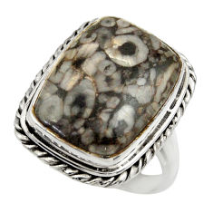 925 sterling silver 14.12cts natural crinoid fossil solitaire ring size 8 r28816