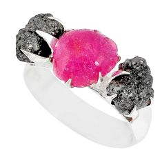 925 sterling silver 5.97cts natural diamond raw ruby rough ring size 8 r79287