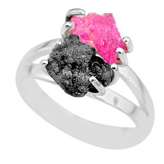 925 sterling silver 5.43cts natural diamond rough ruby rough ring size 7 r92292