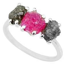 925 sterling silver 7.17cts natural diamond rough ruby raw ring size 8 r92176